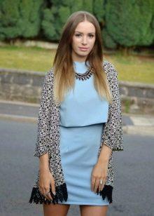 Голубое платье в сочетание с серым