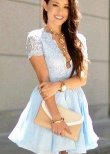 Голубое нежное короткое платье