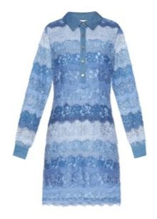 Голубо-синее платье-рубашка