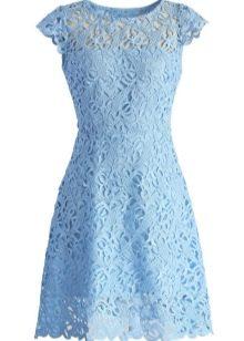 Вечернее голубое платье с рукавами
