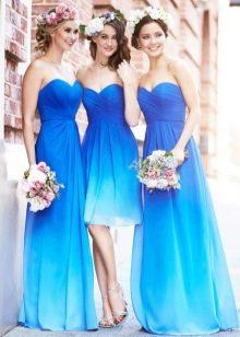 Голубо-синее платье