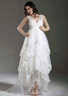 Свадебное платье на бретелях для беременных