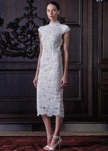 Прямое короткое свадебное платье классическое