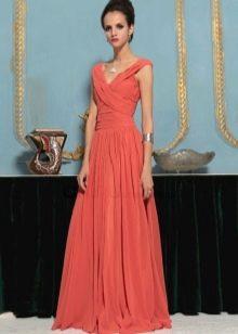 Коралловое платье рыже-терракотового оттенка
