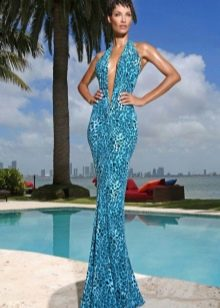 Голубое платье с леопардовым принтом