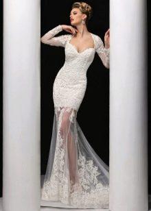 Свадебное платье русалка с прозрачной юбкой
