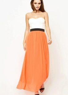Оранжевое платье в сочетание с белым