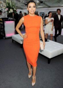 Красивое оранжевое платье