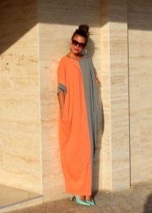 Оранжево-серое платье
