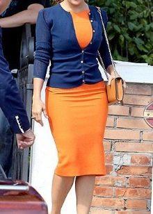 Синий с оранжевым платьем