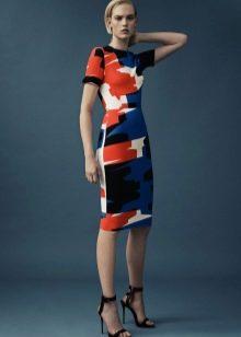 Бежево-оранжево-синее платье
