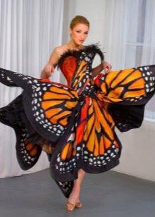 Оранжевый с черным и белым - платье-бабочка