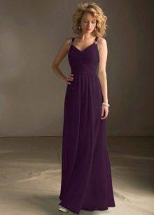 Длинное платье цвета баклажан