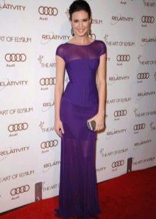 Баклажановое длинное платье с шифоновыми вставками
