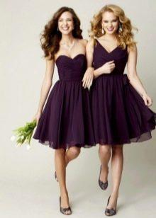Короткие баклажановые платья