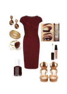 Макияж и аксессуары к платью цвета баклажан