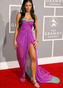 Баклажановое платье с серой отделкой