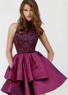 Платье цвета баклажан с топом из гипюра того же цвета