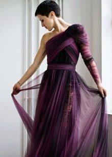 Вечернее баклажановое платье