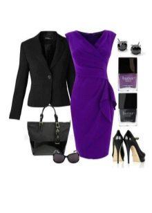 Баклажановое платье в сочетание с черным