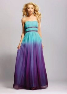Фиолетово-бирюзовое платье
