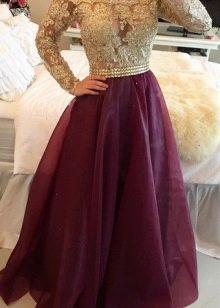 Баклажановое платье с золотым верхом