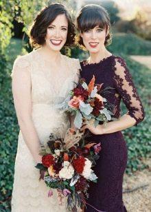 Фиолетовое платье и молочное свадебное