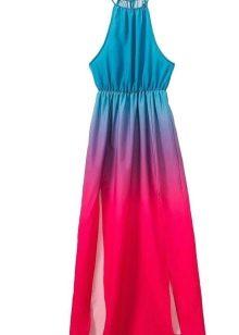 Платье цвета фуксии в сочетание с бирюзовым