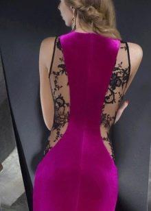 Платье фуксия с черным