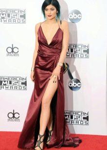 Шелковое длинное платье цвета марсала