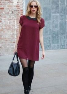 Платье цвета марсала мини длины