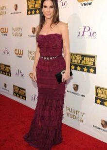 Вечернее длинное бордовое платье
