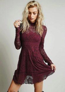 Бордовое платье короткое 49