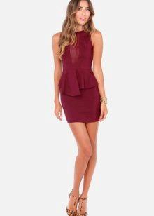 Бордовое платье короткое 75
