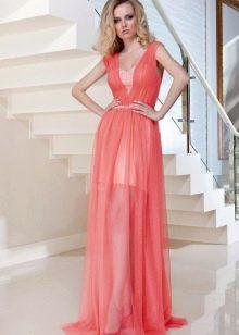 Атласное платье с шифоном