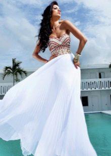 Белое платье из шифона летнее