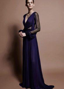 Темно синее платье из шифона