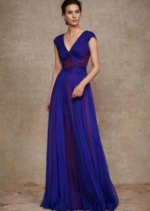 Синее платье из шифона