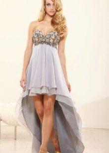 Коктейльное платье из шифона короткое спереди длинное сзади