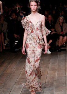 Платье с воланами шифоновое