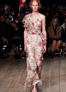 Шифоновое платье с рюшами