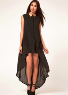 Платье-рубашка из шифона короткое спереди длинное сзади