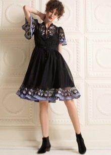 Черное платье из шифона