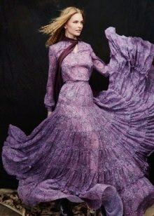 Платье с длинным рукавом из шифона фото