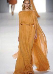 Платье из шифона в пол с длинным рукавом