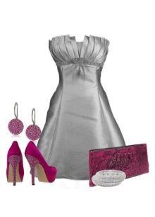 Серое атласное платье и розовые аксессуары к нему