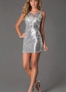Серебристо-серое платье