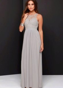 Длинное вечернее серое платье