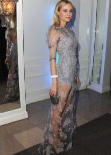 Вечернее длинное платье серого цвета