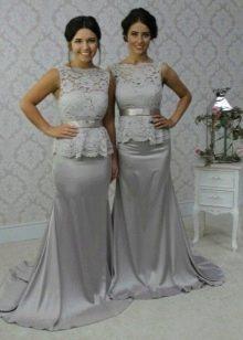 Серое платье максимальной длины